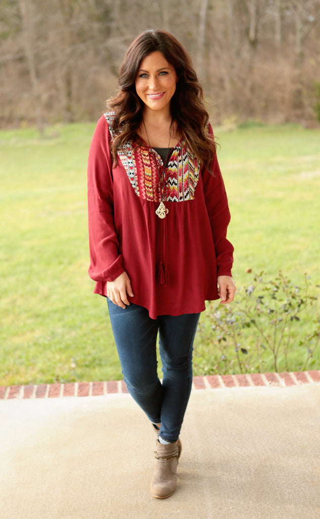 Tori Peasant Tunic (available in Jade or Marsala)