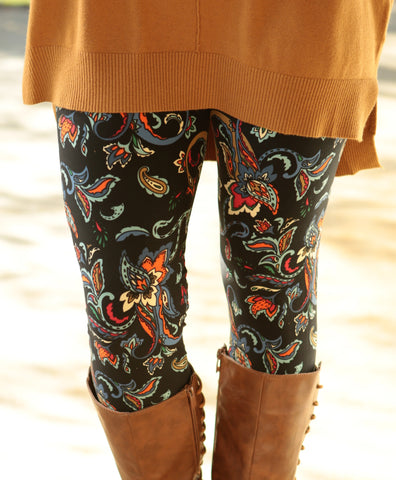 Super Soft Printed Paisley Teal Leggings