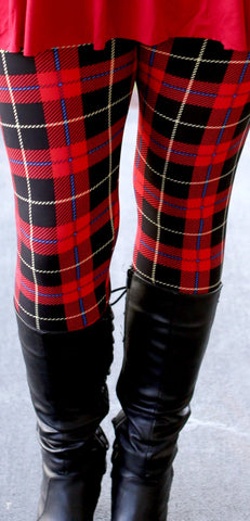 Super Soft Printed Red Plaid Leggings