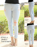 Light Wash Distressed Jeans Style A