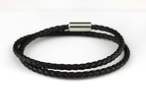 "The Journey Bracelet in Black Leather 8.5"" Double-Wrap"