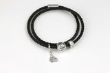 "The Journey Bracelet in Black Leather 7.5"" Double-Wrap"