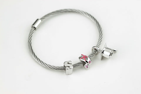 The Journey Bracelet in Silvertone Alloy with Three Charms