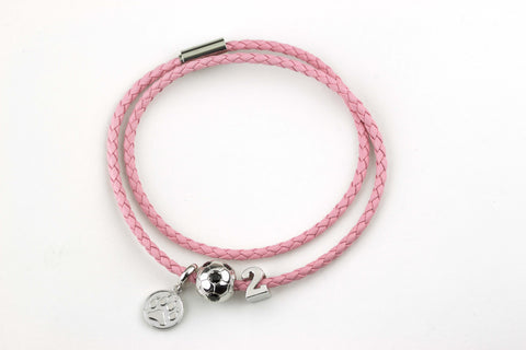 The Journey Bracelet in Pink Leather with three charms