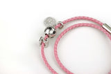 "The Journey Bracelet in Pink Leather 7.5"" Double-Wrap"