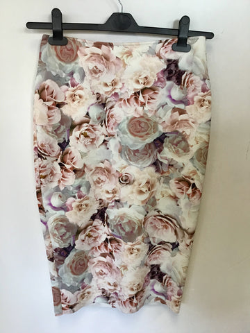 BRAND NEW MARKS & SPENCER PINK FLORAL PRINT PENCIL SKIRT SIZE 10