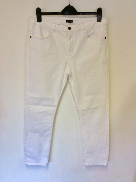 JAEGER WHITE ANKLE GRAZER JEANS SIZE 14