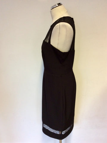 MICHELLE KEEGAN FOR LIPSY BLACK SHEER TOP PENCIL DRESS SIZE 16