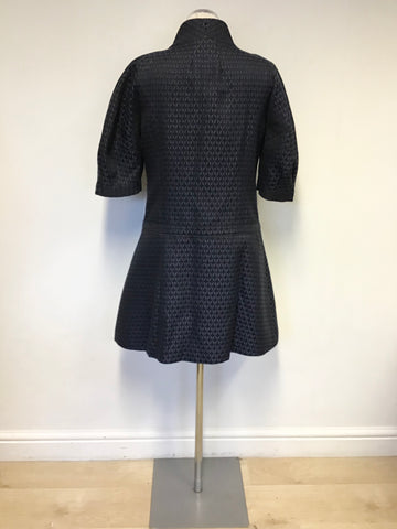 JESIRE BLACK & BLUE DESIGN SHORT SLEEVE OCCASION DRESS COAT SIZE 10
