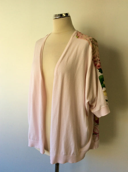 TED BAKER LIGHT PINK FLORAL PRINT CARDIGAN SIZE 2 FIT 10-14