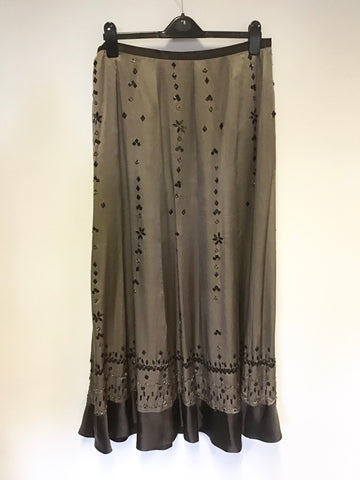 BRAND NEW MONSOON BROWN BEADED & SEQUINNED SILK MAXI SKIRT SIZE 14