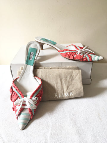ALIMA WHITE,CORAL & MINT GREEN LEATHER KITTEN HEEL MULES SIZE 5/38