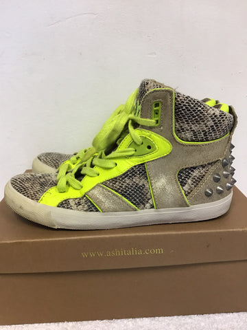 ASH SONIC TAUPE SNAKESKIN & FLUORESCENT YELLOW TRIM HIGH TOP PLIMSOLS SIZE 4/37