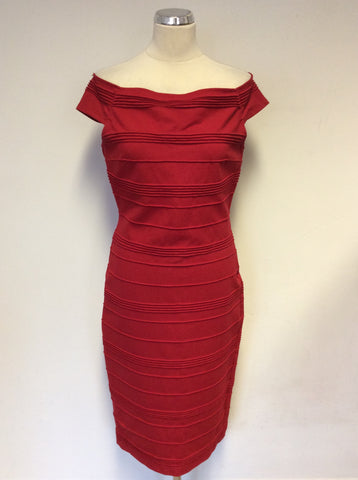 TED BAKER RED OFF SHOULDER STRETCH BODYCON DRESS SIZE 4 UK 14