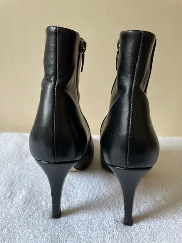 HOBBS BLACK LEATHER ANKLE BOOTS SIZE 5/38