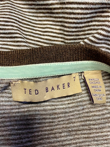 TED BAKER BROWN STRIPED ROUND NECK JUMPER SIZE XL