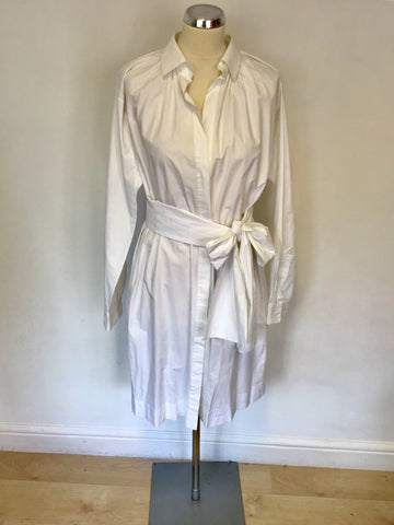 JOSEPH WHITE COTTON TIE BELT SHIRT DRESS SIZE 40 UK 12