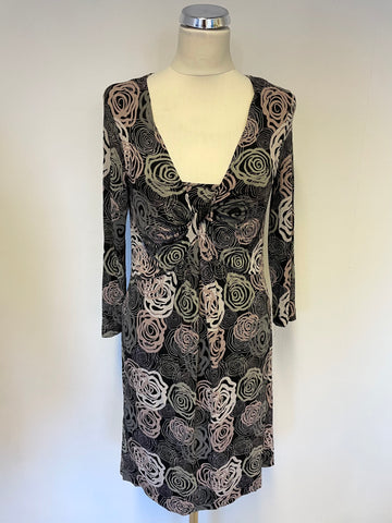 ADINI BLACK PRINT 3/4 SLEEVE STRETCH JERSEY DRESS SIZE XS