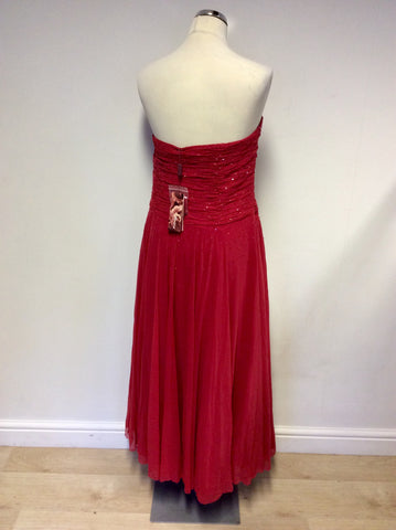 BRAND NEW MONSOON RED SEQUINNED NET OVERLAY EVENING DRESS SIZE 18