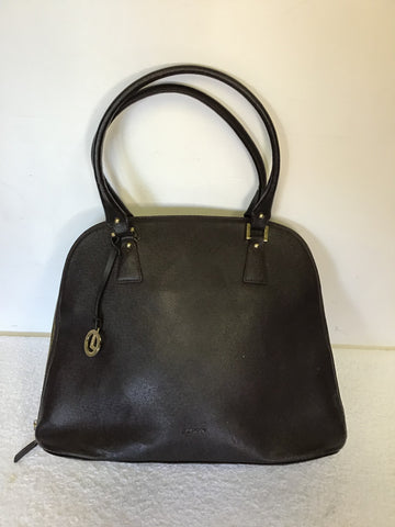 LCREDI DARK BROWN LARGE LEATHER TOTE BAG