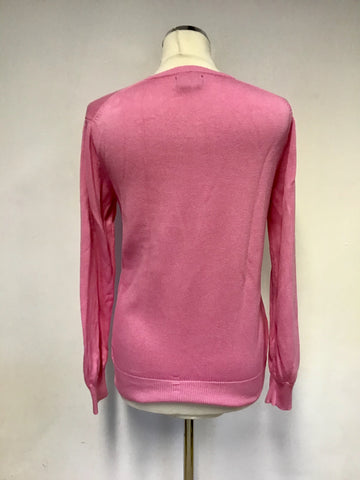 POLO BY RALPH LAUREN PINK COTTON V NECK JUMPER SIZE L UK 14/16