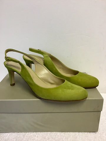 HOBBS LIZZIE WATERLILY GREEN SUEDE SLINGBACK HEELS SIZE 6/39 & MATCHING CLUTCH / SHOULDER BAG