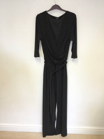 PHASE EIGHT BLACK 3/4 SLEEVE STRETCH JERSEY TIE BELT JUMPSUIT SIZE 16
