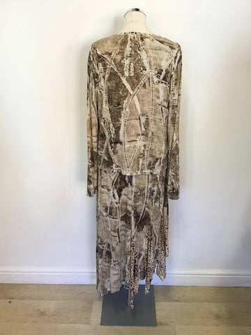 FUEGO BROWN PRINT SLEEVELESS LONG DRESS & MATCHING TOP/ JACKET SIZE XXL