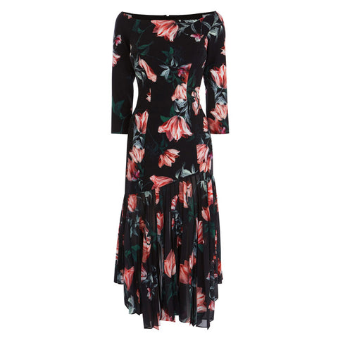 BRAND NEW COAST LAUREN WINDSOR BLACK & PINK FLORAL PRINT SHIFT DRESS SIZE 10