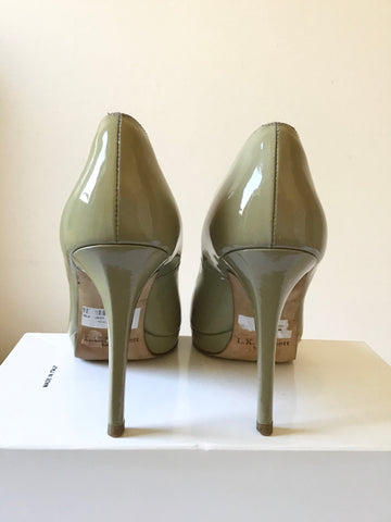 LK BENNETT SLEDGE CLAY PATENT LEATHER HEELS SIZE 7/40