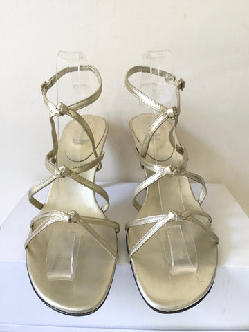 LK BENNETT PALE GOLD LEATHER STRAPPY HEEL SANDALS SIZE 7.5/41