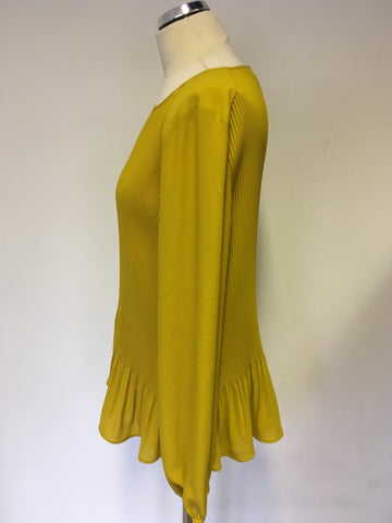 LUISA CERANO MUSTARD PLEATED LONG SLEEVE BLOUSE SIZE 12