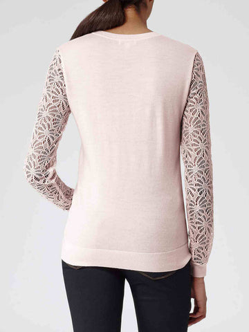 REISS CARA PALE PINK LACE SLEEVE JUMPER SIZE S