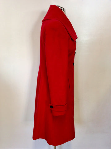 PLANET RED DOUBLE BREASTED WOOL & CASHMERE COAT SIZE 8
