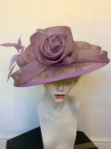 JACQUES VERT LILAC FLOWER & FEATHER TRIM FORMAL HAT