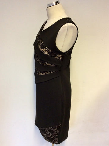 AMY CHILDS BLACK & NUDE LINED LACE TRIM PENCIL DRESS SIZE 16