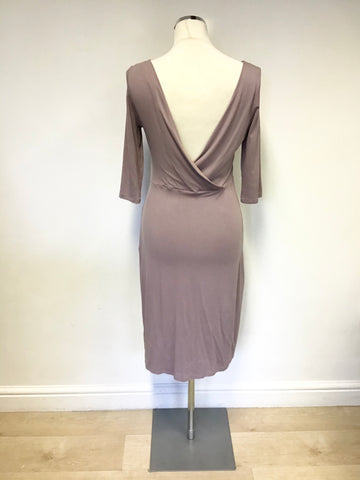 LK BENNETT MAUVE STRETCH LOW BACK 3/4 SLEEVE DRESS SIZE 12