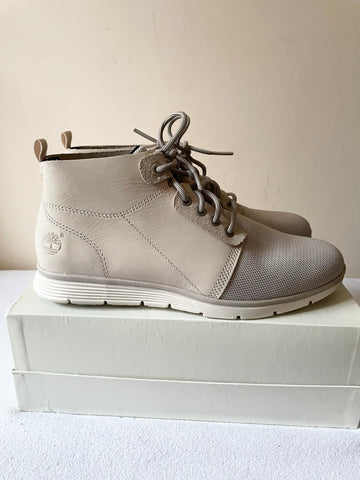 BRAND NEW TIMBERLAND LIGHT GREY LEATHER & TEXTILE LACE UP ANKLE BOOTS SIZE 6.5/39.5