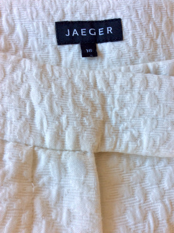 JAEGER WHITE COTTON BLEND TROUSERS SIZE 18