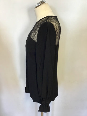 BRAND NEW MONSOON BLACK LACE TRIM TOP SIZE 10