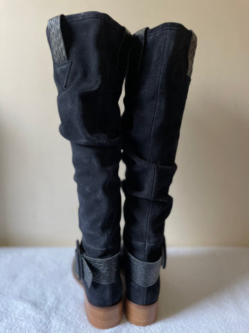 BRAND NEW WHISTLES NAVY BLUE SUEDE & LEATHER TRIM KNEE LENGTH BOOTS SIZE 5/38