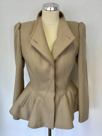 TED BAKER BEIGE WOOL & CASHMERE BLEND WREN PEPLUM JACKET SIZE 1 UK 8/10