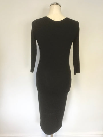 BAUKJEN BLACK STRETCH JERSEY FULLY LINED 3/4 SLEEVE PENCIL DRESS SIZE 10