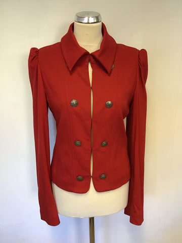 RONIT ZILKHA RED MILITARY STYLE FITTED JACKET SIZE 12