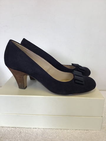 CARVELA BY KURT GEIGER NAVY BLUE FAUX SUEDE BOW TRIM HEELS SIZE 7.5/41