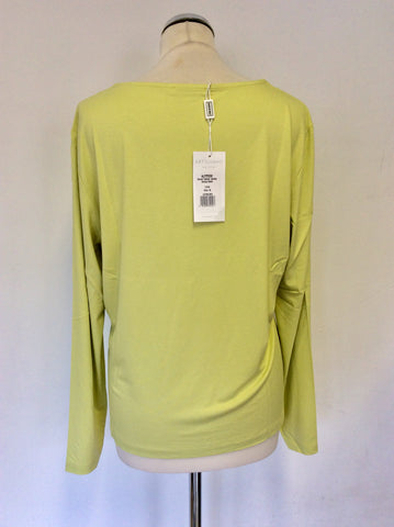 BRAND NEW ARTIGIANO LIME GREEN SMART ITALIAN SCOOP NECK JERSEY TOP SIZE 18