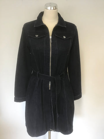 BRAND NEW LIPSY DARK BLUE DENIM LONG SLEEVE ZIP FRONT BELTED DRESS SIZE 16