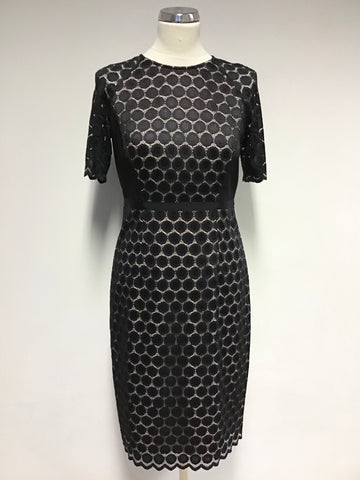HOBBS BLACK & NUDE LINED LACE SPECIAL OCCASION PENCIL DRESS SIZE 10