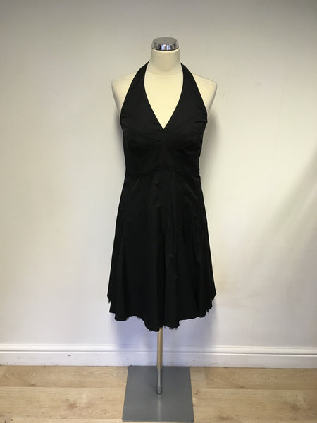 KAREN MILLEN BLACK HALTERNECK LACE TRIM COCKTAIL/ OCCASION DRESS SIZE 14