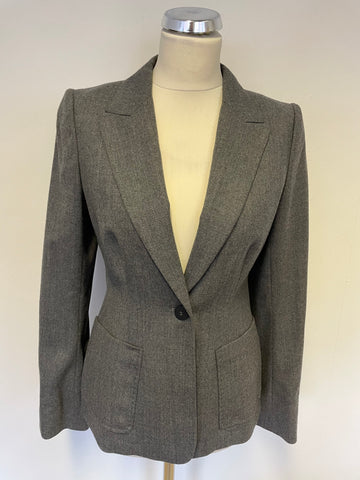 BRAND NEW HOBBS GREY WOOL TAILORED JACKET SIZE 10